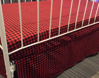 baby bed skirt, red and black checkers for standard baby bed (crib)