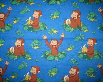 CURIOUS GEORGE, Cotton Fabric, 11X43, fabric, remnant, scrap, blue, banana, craft, monkey