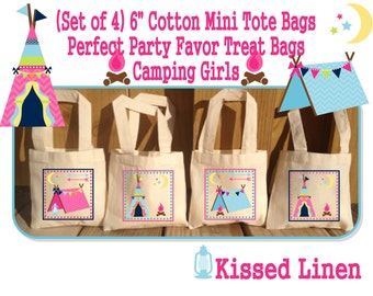 Camping Girls Boys Birthday Party Treat Favor Gift Bags Campout Camper Tent Teepee Campfire Mini Cotton Totes Children Kids