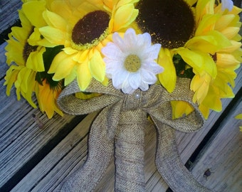 2 piece Sunflower Bouquet Yellow Sunflower Wedding Bouquet Set, Bridal Bouquet, Sunflower Burlap Bouquet, Daisy Bouquet, Yellow Bouquet