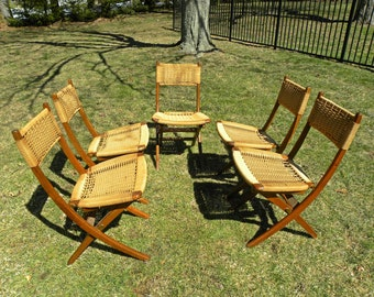 Vintage Mid Century Set of 5 Hans Wegner Style Folding Chairs