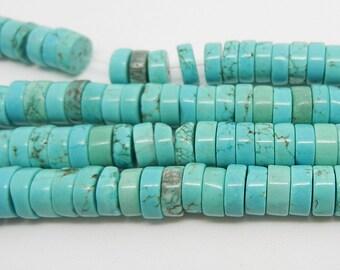 "15""  Blue  Turquoise  Heishi  Beads  Gemstone  8mm"