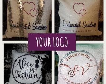 Business logo name sequin magic mermaid swipe cushion cover