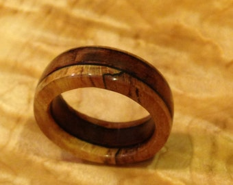 Vintage Cherry and Spalted Maple ring with Ebony and Purpleheart Accents