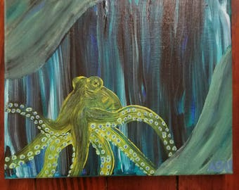 Octo.  Abstract octopus acrylic on canvas original painting.
