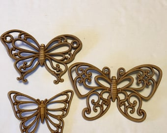 Set of Three Syroco Butterflies 1978
