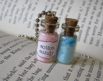 Cotton Candy 1ml Glass Bottle Necklace Charm - Cork Vial Pendant Pink Blue Cotton Candy Cute Kawaii