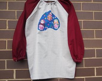 Kids art smock, long sleeve waterproof apron - age 9 to 12 -  Babushka