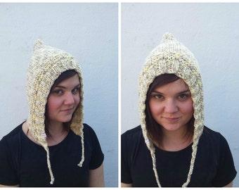 Beige wool hood, knit hood, beige hood, wool hood, knit beige hat, knit wool hat, wool beige hat, winter hat, knit beige hat, hat braids