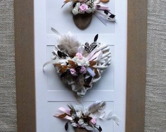 table taupe heart Wicker, pebbles, feathers, ribbons, pink: sweetness