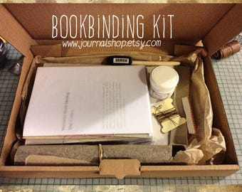 DIY book, book binding kit , book kit, bind my journal kit, journal kit with instructions, choice of 13 colors bookbinding leather