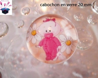 1 cabochon clear 20mm baby theme