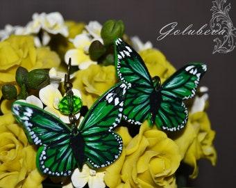 Butterfly earrings Green earrings Polymer clay earrings Handmade acrylic painting  Earrings painting Original earrings