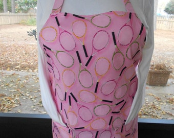 Plus Size Apron, Tennis Apron, Pink Apron, Kitchen Apron, Bib Apron, Hostess Apron, Tennis Racket Apron, Women's Full Apron, Pocket Apron