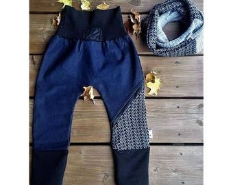 Jogger faux stretch jeans pants. For children 1-3 years with Infinity scarf * custom *.