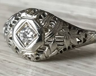 Art Deco Diamond Ring 18K White Gold Vintage Fine Jewelry Engagement Wedding Fashion