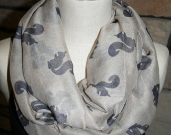 Squirrel Print Infinity Scarf Taupe and Gray Squirrel Circle Scarf-Squirrel Scarf-Womens Accessories- Loop Scarf Grey Scarf Outdoors Scarf