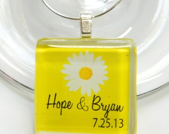 Set of 6 - PERSONALIZED - Wine Glass Tile Charms - Sweet Daisies - One Inch Square Glass Wine Charms - Personalized