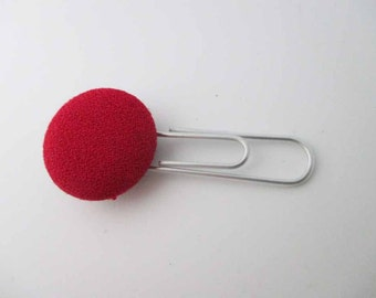 Vintage Red Cloth Button Bookmark
