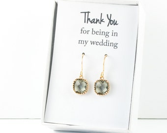 Charcoal Gold Earrings, Gold Charcoal Square Earrings, Gray Wedding Jewelry, Bridesmaid Earrings, Charcoal Bridal Accessories