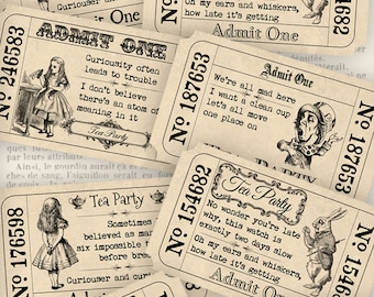 Alice in Wonderland Tea Party Tickets quotes invitation printable hobby crafting digital instant download digital collage sheet - VD0387