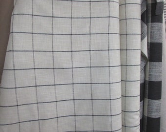 very french RUSTIC WOVEN window pane black/cream linen/ lots of textures tweed multipurpose fabric