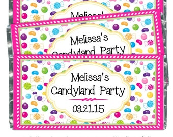 Birthday Candy Wrappers, Candy Land Birthday Candy Bar Wrappers - fit over 1.55 oz chocolate bars, Pink Candy Candy Wrappers