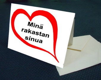 Finnish I LOVE YOU card with envelope