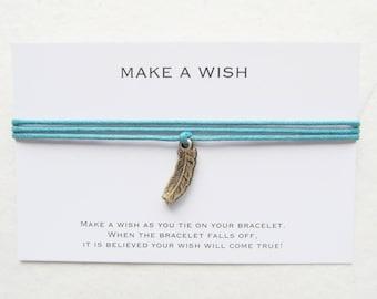 Wish bracelet, feather bracelet, boho bracelet, W50