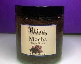 MOCHA  Vegan Sugar Scrub 10oz ~ coffee & cocoa ~ antioxident, anticellulite ~ naturally exfoliating spa body scrub ~ luxury gift