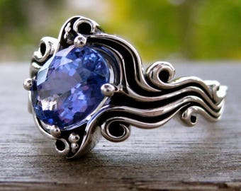 Lavender Tanzanite Ring in 14K White Gold with Ocean Sea Surf Theme and Blackened Waves Size 5