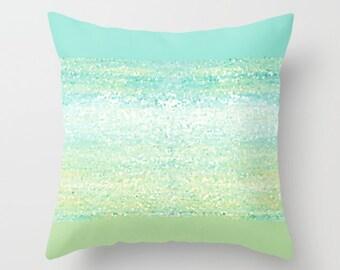Aqua Pillow, Turquoise Pillow, Mint Pillow Cover, Designer Pillows, Art Pillow Decorative Throw Pillows Living Room Pillows, Toss Pillows
