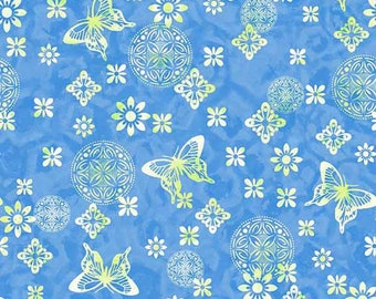P&B Textiles - Soft Dreams - Butterfly Floral - Blue - Fabric by the Yard SDRE594-B