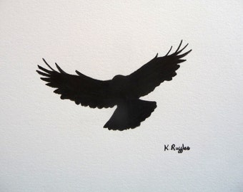 Crow original charcoal sketch, original art, charcoal drawing, pencil drawing, crow art, bird art, gothic art, bird drawing, wildlife art