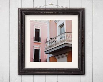 Architecture Photography Old San Juan Puerto Rico Travel Photography Pastel Pink Orange Home Decor Square Print Colorful Houses Window Photo