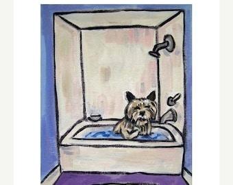25% off Cairn Terrier Taking a Bath Art Print