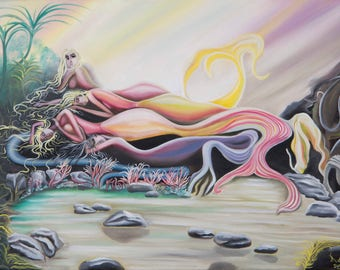 Mermaid Painting on canvas - Mermaid art  - Surrealism Painting  - Original Painting & Copy (Limited Edition) Original by babakarts.