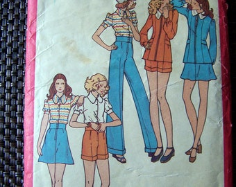 "Vintage 70's  ""BUTTERICK SEWING PATTERN 6573"" Petite Dress & Pants Size 11"