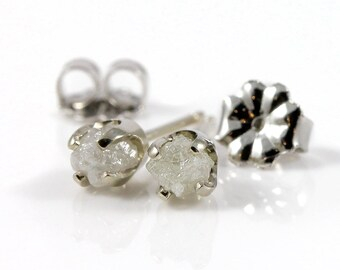 Rough Diamonds in 14K White Gold Earrings - Natural Unfinished Raw Stones - White Diamond Studs - Gold Post Earrings