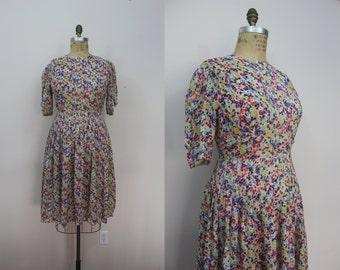vintage 1930s dress / 30s floral dress / 30s plus size dress / spring blossom dress / sz extra large XL