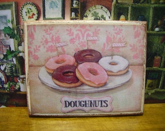 Sweet Donuts Miniature Wooden Plaque 1:12 scale