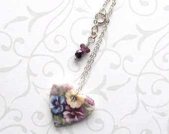 """SALE! Heart Necklace. Pansy Pendant. Czech Glass Beads. Porcelain. Ceramic. Blue. Purple. Yellow. Pansies. Shabby Chic. 18"""" Sterling Chain"""
