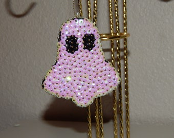 Hand Sequined Ghost Ornament