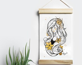 Rapunzel - Art Print 6 x 8 - with Gold embellishment