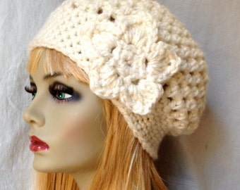 SALE Crochet Slouchy Beret, Womens Hat, Off White Cream, Pick Your Color, Chunky, Warm, Teens, Birthday Gifts for Her JE505BTF2