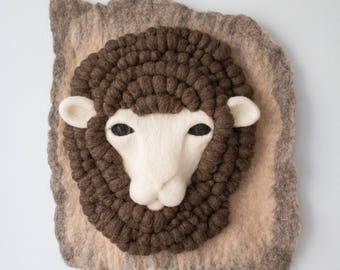 Brown Merino Sheep Felt Wall Hanging