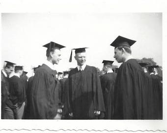 Old Photo Men Graduates on Graduation Day Caps and Gowns 1950s Photograph Snapshot vintage