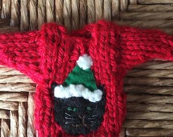 Black Cat Ornament, Santa Cat Mini Sweater Ornament, Black Cat Lover, Xmas Cat Gift, Handmade Christmas Ornament, Christmas Cat