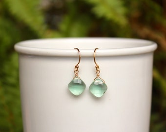 Green Amethyst Earrings, Silver or Gold Green Amethyst Earring, Gemstone, Green Amethyst, Simple Earrings, Lightweight, Free Shipping