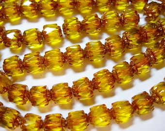 25 6mm Jonquil Yellow with Bronze Firepolished Cathedral Czech Glass Beads